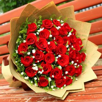 33朵红玫瑰,搭配满天星,黄莺